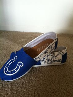 Custom Indianapolis Colts shoes!! Get any custom pair at http://facebook.com/micah.custom.art