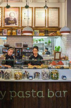 Gino D'Acampo launches first 'My Pasta Bar' Italian cuisine venture. Interior & Equipment by Space Catering #interior design #restaurant design