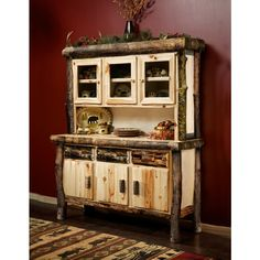 This Beaver Creek Aspen Buffet & Hutch will add visual appeal to your dining room. Check us out online or call us at for more log furniture or rustic decor. Log Decor, Dining Decor, Rustic Decor, Dining Table, Log Furniture, Furniture Design, Birch Bark Crafts, Buffet Hutch, Rustic Kitchen Cabinets