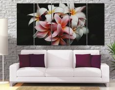 High Quality Large Pink White Flower Photo Canvas от GiftVilage