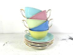 5 Ceranord cups and saucers small tea / by frenchvintagedream