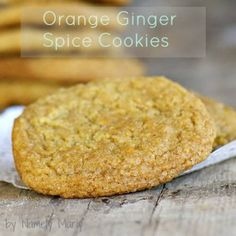 "Orange Ginger Spice Cookies:  ""Crispy raw sugar coats the outside of this cookie providing a nice crunch with every bite, but is followed by the smooth and gooey center of orange and ginger."""
