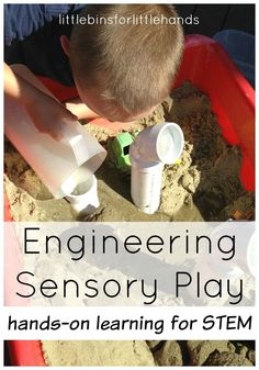Engineering play with sand and pipes for a fun outdoor STEM activity that includes sand and water sensory play. Open ended engineering play is a great STEM challenge for young kids including toddlers, preschoolers, and kindergarten age kids that are learning about STEM.
