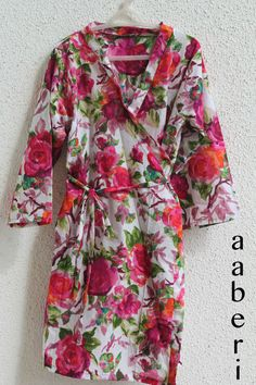 White Floral Kimono Crossover kneelength Robe  Getting by aaberi