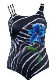 Badpak met versierde bloem op het zebradesin. Softcups, band onder de buste, voering voor....