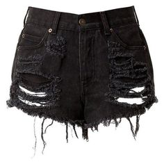 Black High Waisted Denim Shorts Destroyed ❤ liked on Polyvore featuring shorts, ripped shorts, high-rise shorts, high-waisted shorts, distressed jean shorts and distressed shorts