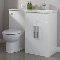 Cooke & Lewis Ardesio Gloss White RH Vanity & Toilet Pack | Departments | DIY at B&Q