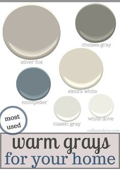Gray Palette Warm gray paint colors are on trend right now. Benjamin Moore has some stunning gray neutrals! Warm gray paint colors are on trend right now. Benjamin Moore has some stunning gray neutrals! Warm Paint Colors, Interior Paint Colors, Paint Colors For Home, Wall Colors, House Colors, Neutral Paint, Grey Palette, Benjamin Moore Paint, Silver Fox Benjamin Moore