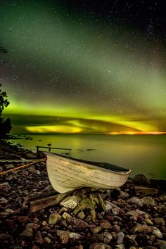 Northern lights - Amazing aurora borealis in Lohtakari island.