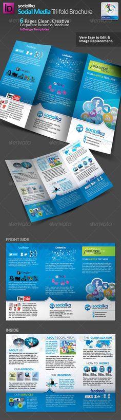 Social Media Tri-fold Brochure v.2  —  EPS Template