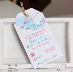 Wedding invitation Mexico Cancun Playa Del Carmen Save the Date Luggage Tag Magnet with passport stamp. Destination Wedding.