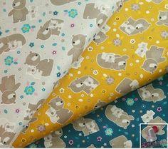 3 motifs, Mama & me, Woodland, Camelot Fabrics, bundle, 1 de chaque motif, ourson, fond gris, fond moutarde, fond sarcelle