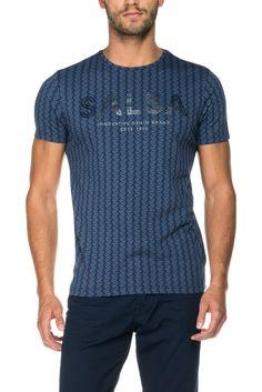 T-shirt 100% algodão com branding frontal | 117720 Azul | Salsa