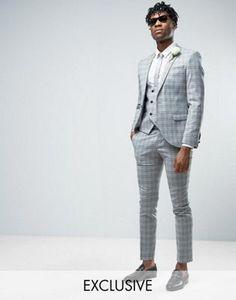 Traje muy ajustado de boda con diseño de cuadros grises de Noose & Monkey  #fashion