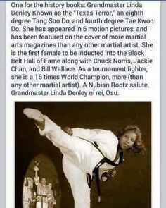 Grandmaster Linda Denley Have you heard of her? This is amazing! Black History Facts, Black History Month, Strange History, Tang Soo Do, Ju Jitsu, Einstein, My Black Is Beautiful, Beautiful Women, Interesting History