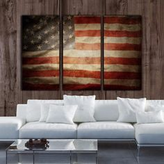 Three panel Vintage American Flag on canvas has a place in every home. SHOP WITH CONFIDENCE FROM HOLY COW CANVAS STUDIOS: - EPSON State-of-the Art Printing Process - Museum Quality Canvas with Satin F
