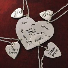 Sawed and engraved by hand, these 6 piece heart puzzle necklace sets are perfect for groups of friends or family. Have them engraved with a quote or individually with names. Crafted from Argentium Sterling Silver, these are highly rated top sellers in my store and people love them for weddings, farewells, and friendship gifts #heartpuzzlenecklaces #puzzlenecklaces #friendshipnecklaces #friendshipjewelry #farewellgift #graduationgift #weddinggift #friendnecklaces #friendshipjewelry… Dog Jewelry, Animal Jewelry, Custom Jewelry, Unique Jewelry, Friendship Necklaces, Friendship Gifts, Farewell Gifts, Friend Necklaces, Girls Weekend