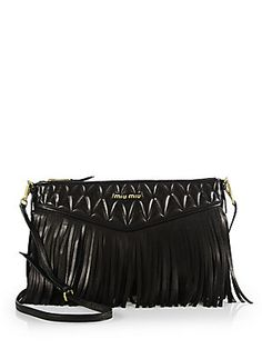 Miu Miu Nappa Crossbody Bag with Fringe Men s Apparel, Crossbody Bags,  Fringes, Miu f0e222139d