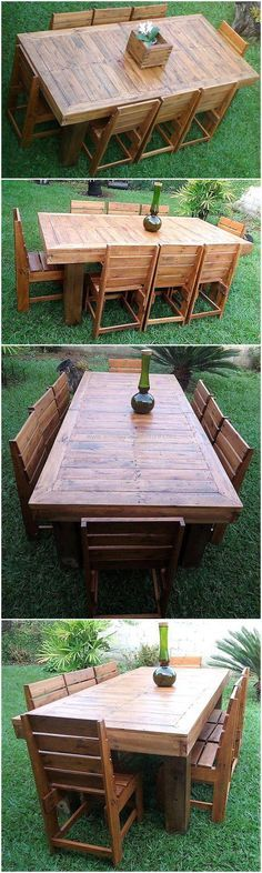 Have a look at the charming appearance of this pallet garden dining set. This structure seems beautiful and appealing to eyes for the first sight as shown in the plan given below. This craft will able you to sit in a fresh environment and you can also enjoy your every meal while sitting on your own crafted wooden product. #pallets #woodpallet #palletfurniture #palletproject #palletideas #recycle #recycledpallet #reclaimed #repurposed #reused #restore #upcycle #diy #palletart #pallet…
