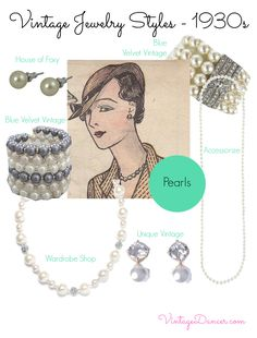 1930s style jewelry - Pearls were not only present in necklaces, but also in brooches – sometimes incorporated with the 'white on white' paste style, earrings and bracelets. Pearls really are a timeless jewelry item, and can be worn in so many different ways – perhaps proving way they are still so popular. Shop VintageDancer.com/1930s