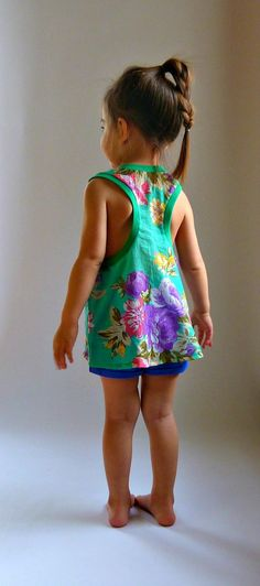 DOLI Tank- PDF Sewing Pattern Racer Back Tank Loose Fit Top Toddler Girls 12mo-6 Instant Download via Etsy