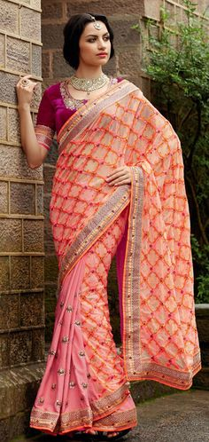 USD 164.75 Orange and Pink Stone Work Half N Half Wedding Saree  40312
