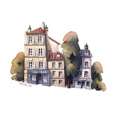 2 Watercolor Polychromos illustrations inspired of houses in Munich and Paris. Also avaiable in my Etsy shop...