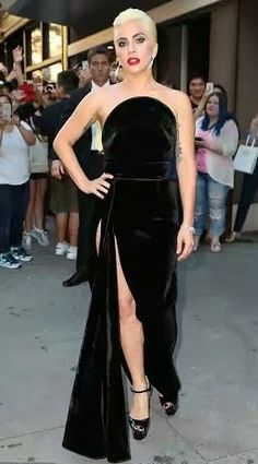 Lady Gaga Tries Thigh-High Split Velvet Gown At Tony Bennett's 90th Birthday Party | Photos #FashionBlogger