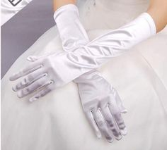 Women's Solid color long gloves lady's satin long sunscreen gloves female long sexy gloves 8 colors
