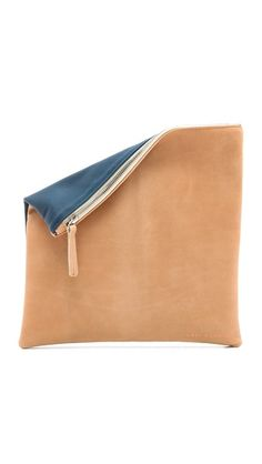 navy and camel leather clutch - spring 2014
