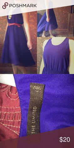 The Limited Blue/Violet polyester dress with sheer Polyester dress with polyester sheer, accordion style skirt. (No belt); slight high-low skirt style The Limited Dresses High Low