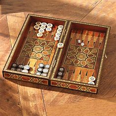 I would love to have this beautiful inlaid backgammon board.