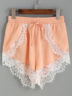 US$12.99 - Pink Contrast Lace Trim Elastic Waist Loose Shorts - shein.com
