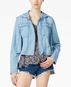 Free People Hooded Denim Jacket