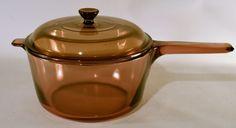 Vision Corning Pyrex Dutch Pot Sauce Pan Handle Amber 2.5 L USA