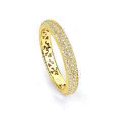 Sterling Silver Gold Plated and Cubic Zirconia Eternity Ring