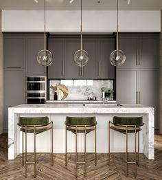 Four Interiors That Take Boho Chic Upmarket Kitchen Room Design, Modern Kitchen Design, Home Decor Kitchen, Interior Design Kitchen, Kitchen Furniture, Home Kitchens, Cane Furniture, Garden Furniture, Küchen Design