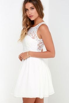 Date night will be your favorite night because of the Truth and Fiction Ivory Lace Skater Dress! A padded sweetheart bodice is topped by a sheer lace decolletage. Grad Dresses Long, Hoco Dresses, Dance Dresses, Pretty Dresses, Homecoming Dresses, Bridesmaid Dresses, Formal Dresses, Wedding Dresses, White Skater Dresses