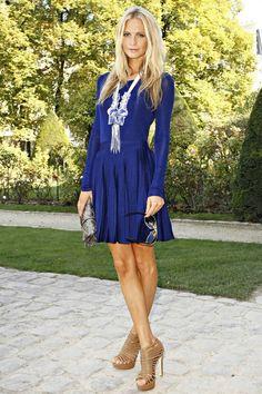 Long-sleeved, true-blue dress