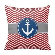 Red Nautical Anchor Chevron Throw Pillow LAST DAY save 15% on all pillow orders Use code: Use Code: ZAZTAXSAVING Chevron Throw Pillows, Nautical Anchor, Zig Zag Pattern, Chicago Cubs Logo, Modern Art, Fun, Color, Colour, Contemporary Art