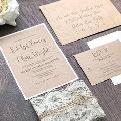 Rustic Kraft Wedding Invitation Set with Ivory Lace Wrap and image 3 invitations rustic summer Rustic Kraft Wedding Invitation Set with Ivory Lace Wrap and Twine, Rustic Elegant Invite, Country C Barn Wedding Invitations, Elegant Wedding Invitations, Rustic Wedding, Antler Wedding, Chic Wedding, Summer Wedding, Wedding Ideas, Lace Wrap, Ivory