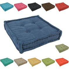 Blazing Needles 20-inch Square Corded Floor Pillow with Button Tufts