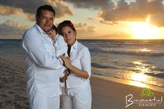 Family beach portrait session in Cancun, Mexico. Photos were taken during sunrise.