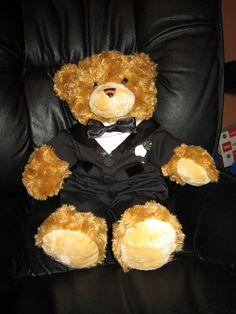 Ring Bearer Gift (Build-a-bear)...Could do the same for the flower girl but make it a girly bear