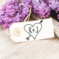Carved Heart Wedding Stamp by SouthernPaperAndInk. Add your initials today.