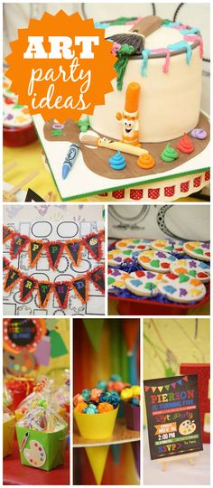 An art birthday party held at a local pottery painting studio with a fun food table and a paint can cake! See more party planning ideas at CatchMyParty.com!