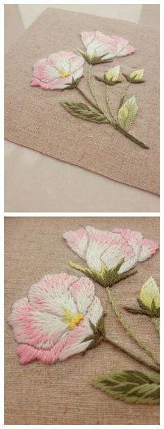 刺绣洋桔梗来自手工也是一种时尚的图片分享-堆糖;