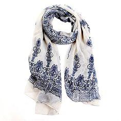 Broadfashion Women s Autumn Spring Fashion Soft Big Long Scarf Vintage  Printing Scarves (Creamy White)  Amazon.co.uk  Clothing a20faad0874