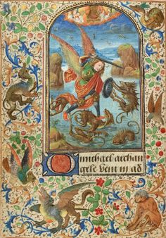 Prayer Book of Charles the Bold, Flemish and French, 1469, about 1471 and about 1480–1490 Ms. 37, f. 15v -Saint Michael Artist/Maker: Lieven van Lathem (Flemish, about 1430 - 1493) http://www.getty.edu/art/collection/objects/1642/lieven-van-lathem-saint-michael-flemish-1469/?dz=0.5000,0.7100,0.52