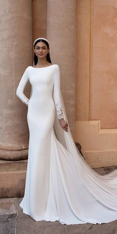 18 Of The Most Graceful Simple Wedding Dresses With Sleeves ❤ simple wedding dresses with sleeves sheath modest train pronovias ❤ Simple Wedding Dress With Sleeves, Gorgeous Wedding Dress, Wedding Dress Sleeves, Dresses With Sleeves, Dress Wedding, Muslim Wedding Gown, Muslim Wedding Dresses, Bridal Dresses, Wedding Hijab